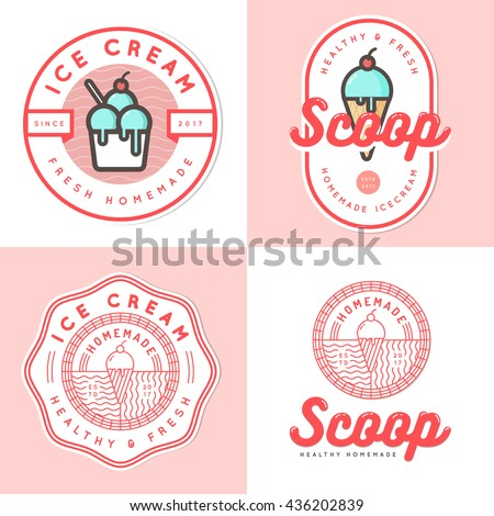 Set of logo, badges, banners, emblem and elements for ice cream shop. Vector illustration - stock vector