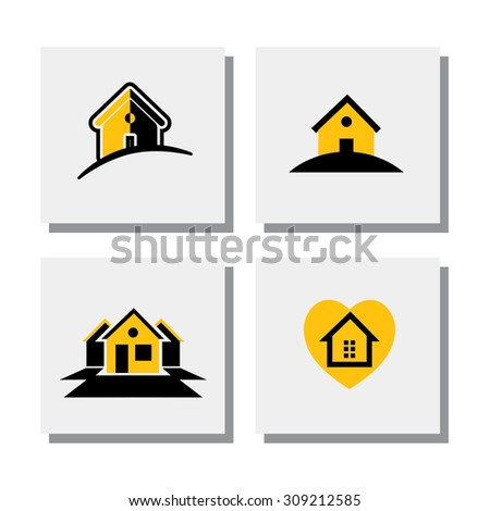 set of logo house or home designs - vector icons. this also represents concepts of small residential units, apartments, real estate units, property for sale, lease or rent - stock vector