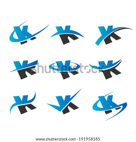 Set of logo icons with the letter K - stock vector