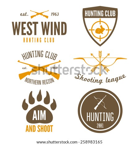 Set of logo, sticker, badge, emblem, label, print or logotype elements for shooting club or hunting club  - stock vector