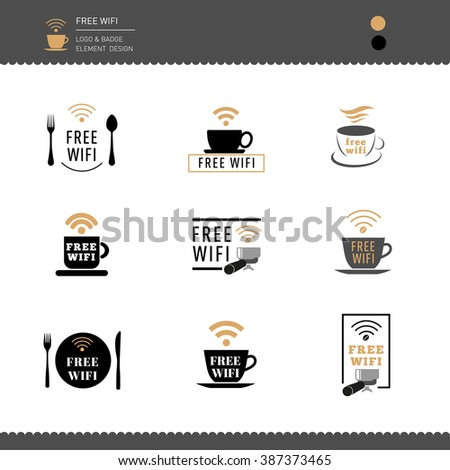 Set of Logos and Badges Free Wifi  for Restaurant and Cafe  - stock vector