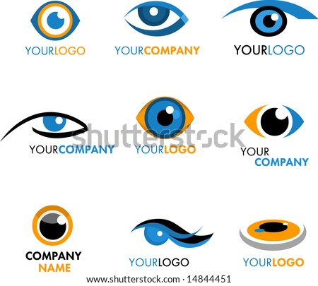 SET OF LOGOS AND ICONS OF EYE - stock vector