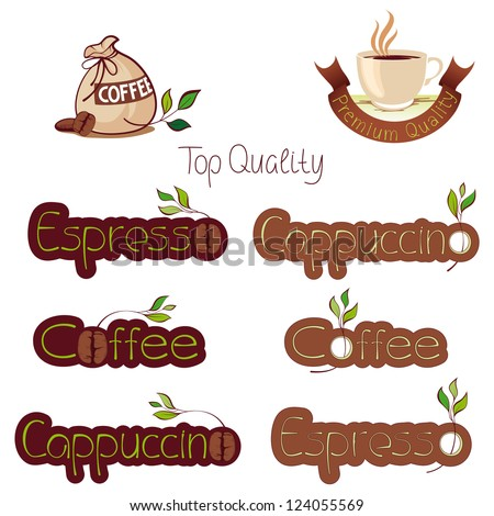 set of logos for coffee, nine sketches - stock vector
