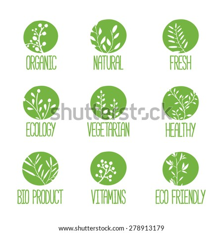 Set of logos, icons, labels, stickers or stamps. Silhouettes of twigs, leaves, plants, berries. Green color. Vector - stock vector