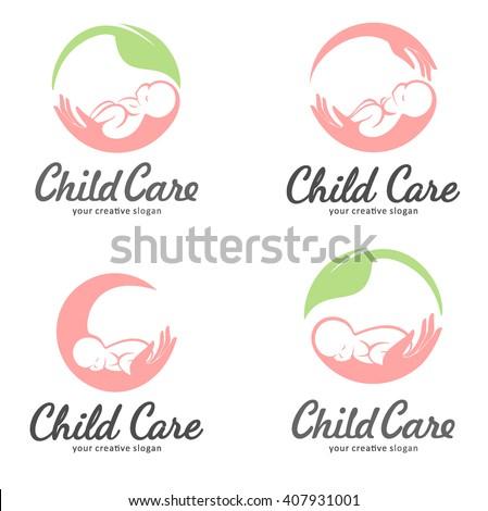 Set of logos of child care, motherhood and childbearing - stock vector