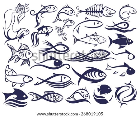 Set of logos of fishes.