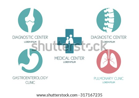 Set of logos on a medical theme. Set of labels, badges and design elements. - stock vector