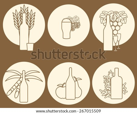 Set of logos on alcohol theme for your design - stock vector