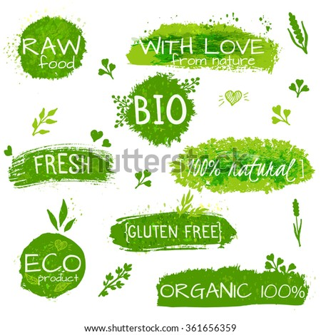 Set of logos, stamps, badges, labels for natural eco products, farms, organic. Floral elements and grungy texture. Green, pastel colors. Vector set of healthy organic food labels for vegetarian cafe - stock vector