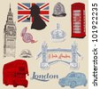 Set of London doodles - for design and scrapbook - hand drawn in vector - stock vector