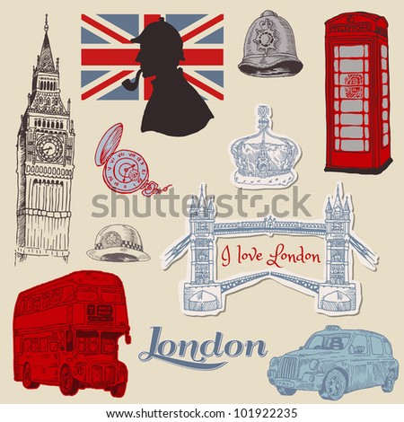 Set of London doodles - for design and scrapbook - hand drawn in vector