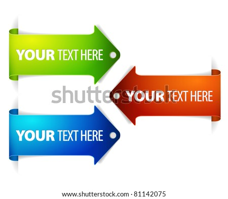 Set of long horizontal colorful arrow bookmarks - arrow pointing at the content with sample text - stock vector