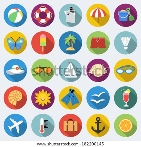 Set of long shadow summer rest icons. Traveling, tourism, vacation theme. Part 1