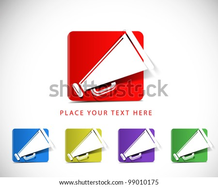 set of loudspeaker as announcement icon on white background - stock vector