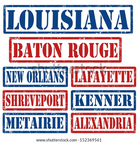 Set of Louisiana cities stamps on white background, vector illustration - stock vector