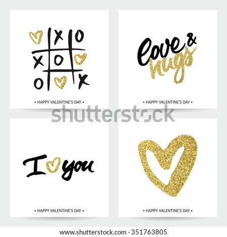 Set of love cards for Valentine's Day or wedding. Hand brush lettering and golden sparkling hearts. Modern calligraphic design. - stock vector