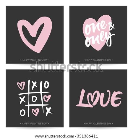Set Love Cards Valentines Day Wedding Vector 351386420 – Dark Valentines Day Cards