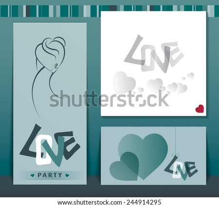 Set of love cards.Valentine's Day cards. Silhouette of people in love the simple lines.  - stock vector
