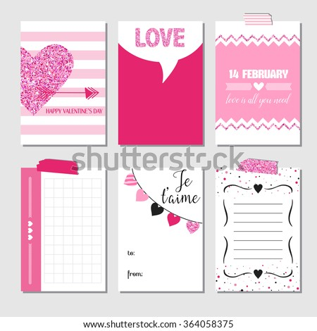 Set of Love Cards with Pink Glitter - Wedding, Valentine's Day, Invitation - in vector  - stock vector