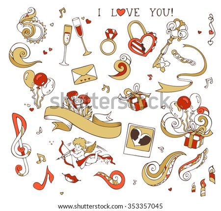 Set of love doodles icons isolated on white background. Gold and red. Cupid, balloons, music notes, clouds, rainbow, key and lock, chain, kiss, ribbon, ring, glass of wine, roses, candles, swirls. - stock vector