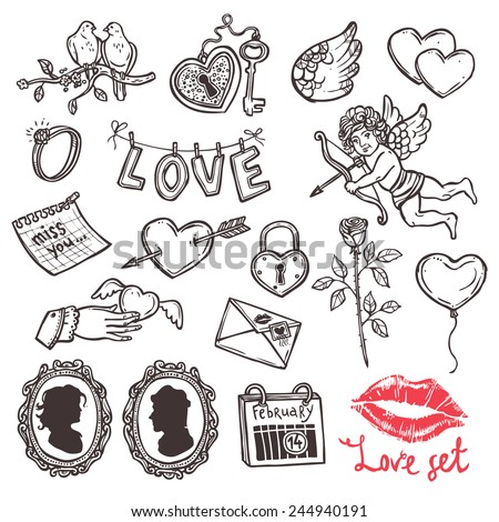 set of love elements in sketch style for Valentin's day, heart with key, Cupid, heart with Cupid's arrow, rose, doves, love letter, wedding ring - stock vector