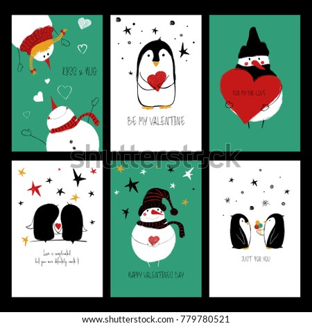 Set Of Love Greeting Cards With Cute Penguins, Snowman And Funny Phrases.  Collection Of
