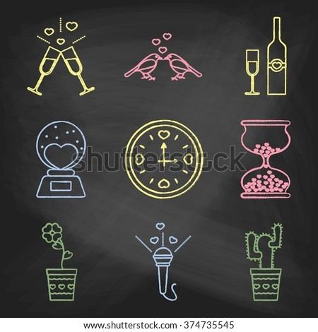 Set of love icons painted with colorful chalk on a blackboard. Decorative icons for Valentine's day. Hands-drawn style - stock vector