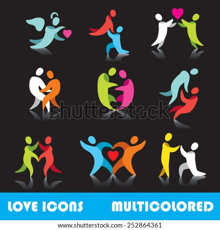 Set of love logo vector icons, multicolored series - stock vector