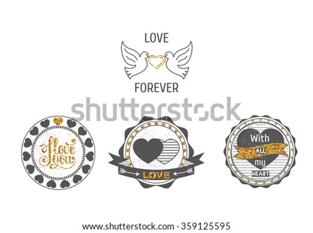 Set of love stamps. Perfect for Valentine's Day greetings, invitations to weddings and other romantic collages.Isolated items with sparkles on a white background. - stock vector