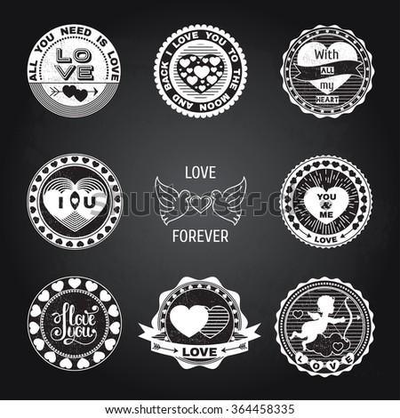 Set of love stamps. Perfect for Valentine's Day greetings, invitations to weddings and other romantic collages.Isolated elements on a black chalkboard background. - stock vector