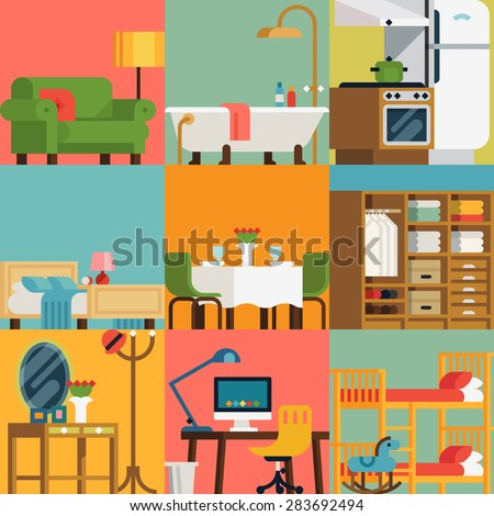 Set Lovely Colorful Vector Interior Design Stock Vector ...