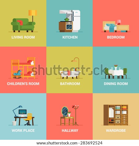 Set Lovely Colorful Vector Interior Design Image Vectorielle 283692524