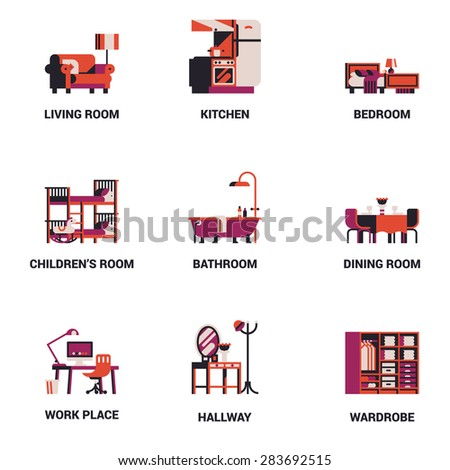 Set of lovely and vector interior design room types icons in trendy flat design featuring living room, bedroom, kitchen, kids' room, bathroom, dining room, work space and hallway - stock vector