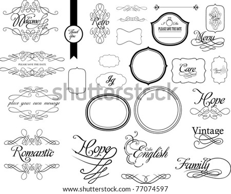 set of lovely calligraphy for wedding use - stock vector