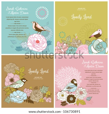 set of lovely card templates with flower & bird - stock vector