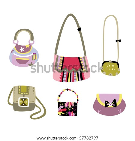 Set of lovely handbags with designs created by me. - stock vector