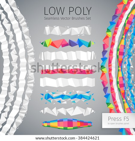 Set of low polygonal abstract geometric vector seamless pattern brushes with corners. Used pattern brushes included in Brushes panel. - stock vector