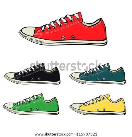 Set of low sneakers drawn in a sketch style. Side view of sneakers in different colors. Vector illustration. - stock vector