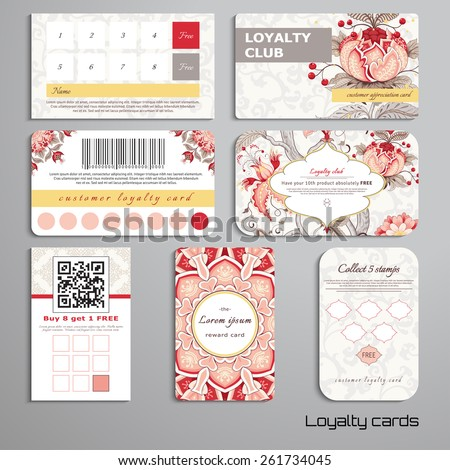 Set of loyalty cards. Tree of Life and beautiful indian decorative frame. Motives of the paintings of ancient Indian fabrics. Realistic shadows. Place for your text. - stock vector