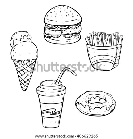 Set of Lunch Fast Food or Junk Food With Doodle or Sketchy Style on White Background