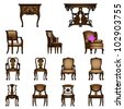 Set of Luxurious armchairs and tables, vector - stock photo