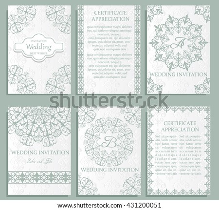 Set of Luxury blue artistic brochure . Vector certificate template . Vintage art identity, floral card, magazine. Traditional, Islam, arabic, indian. Retro greeting card or wedding invitation design - stock vector