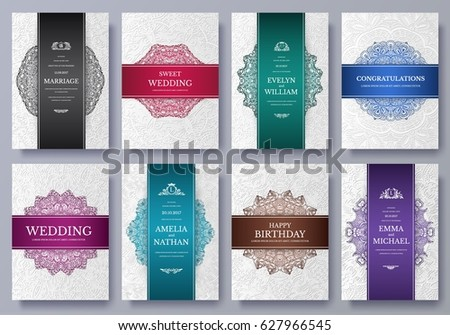 Set Luxury Colors Artistic Pages Set Stock Vector