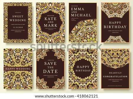 Set of luxury flyer pages with calligraphic ornament illustration concept. Vintage art traditional, Islam, arabic, indian, elements. Vector decorative retro magazine or invitation design - stock vector