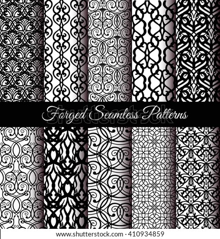 Set of luxury forged seamless patterns. Elegant weave ornament for wallpaper, fabric, paper, invitation print. Stylized damask vector background. Black and white flourish floral motif. Unusual vintage - stock vector