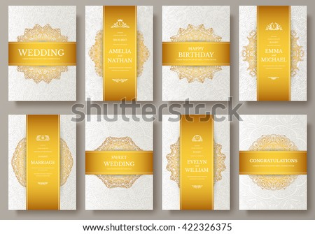 Set of Luxury Gold artistic pages set with logo brochure template. Vintage art identity, floral, magazine. Traditional, Islam, Arabic, Indian. Decorative retro greeting card or invitation design - stock vector