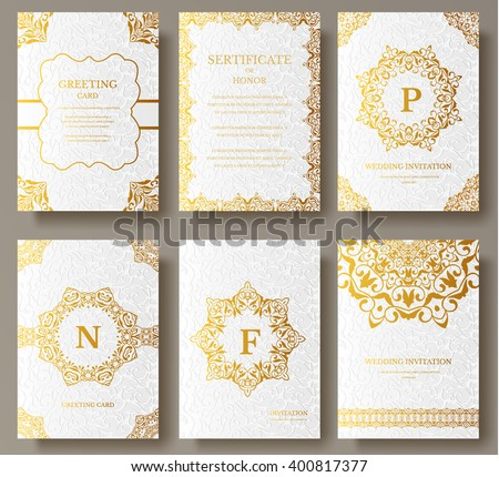 Set luxury gold artistic pages logo stock vector hd royalty free set of luxury gold artistic pages with logo brochure template vintage art identity floral stopboris Gallery