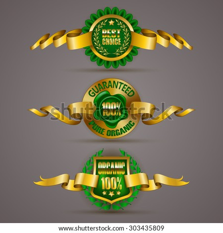 Set of luxury gold badges with floral elements, stars, laurel wreath, wax seal. 100 % pure organic, best choice. Eco emblem, bio icon, logo, label, medal, tag for web, page design. Illustration EPS 10 - stock vector