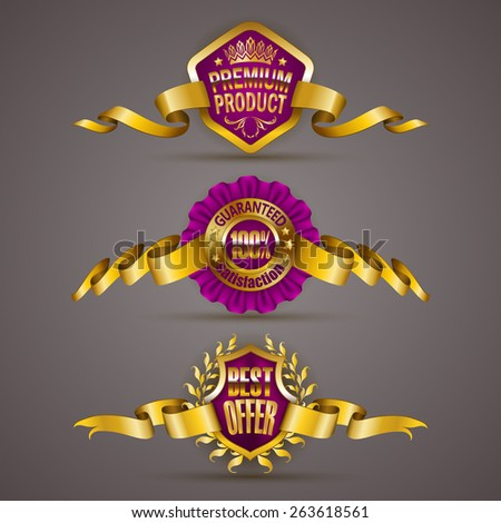 Set of luxury gold badges with laurel wreath, ribbons. 100 % guaranteed, best offer, premium product. Promotion emblems, icons, labels, medal, blazons for web, page design. Vector illustration EPS 10. - stock vector