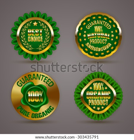 Set of luxury gold badges with laurel wreath, star, wax seal. 100 % pure organic natural product, guaranteed. Eco emblem, bio icon, logo, label, medal, sticker for web, page design. Illustration EPS10 - stock vector